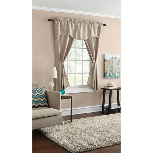 Mainstays Damask Scroll Window Curtain Set, Curtain Panels and Valances Included