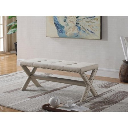 Best Master Furniture Linen Blend Accent Bench with Nailhead Trim -