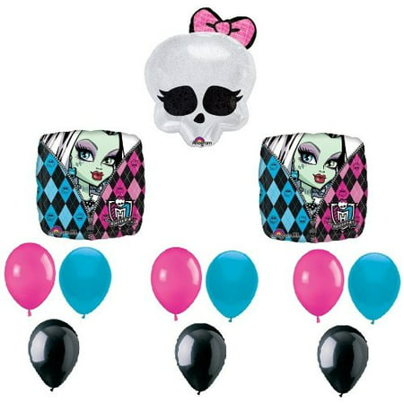 Monster High Birthday Decorations (MONSTER HIGH Badge SKULLETTE (12) Birthday Party Decoration Balloons SET Kit, By)