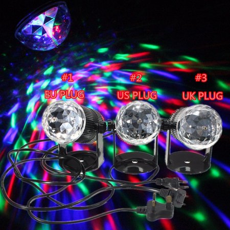 Disco Ball Party Light RGB LED Crystal Rotating Laser Stage Light Sound Control 7 Color Mini Stage Lighting Projector Light DJ Disco KTV Bar Party Wedding Christmas Lighting
