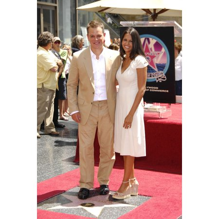 Matt Damon Luciana Barroso At The Induction Ceremony For Star On The Hollywood Walk Of Fame For Matt Damon Hollywood Boulevard Los Angeles Ca July 25 2007 Photo By Michael GermanaEverett Collection