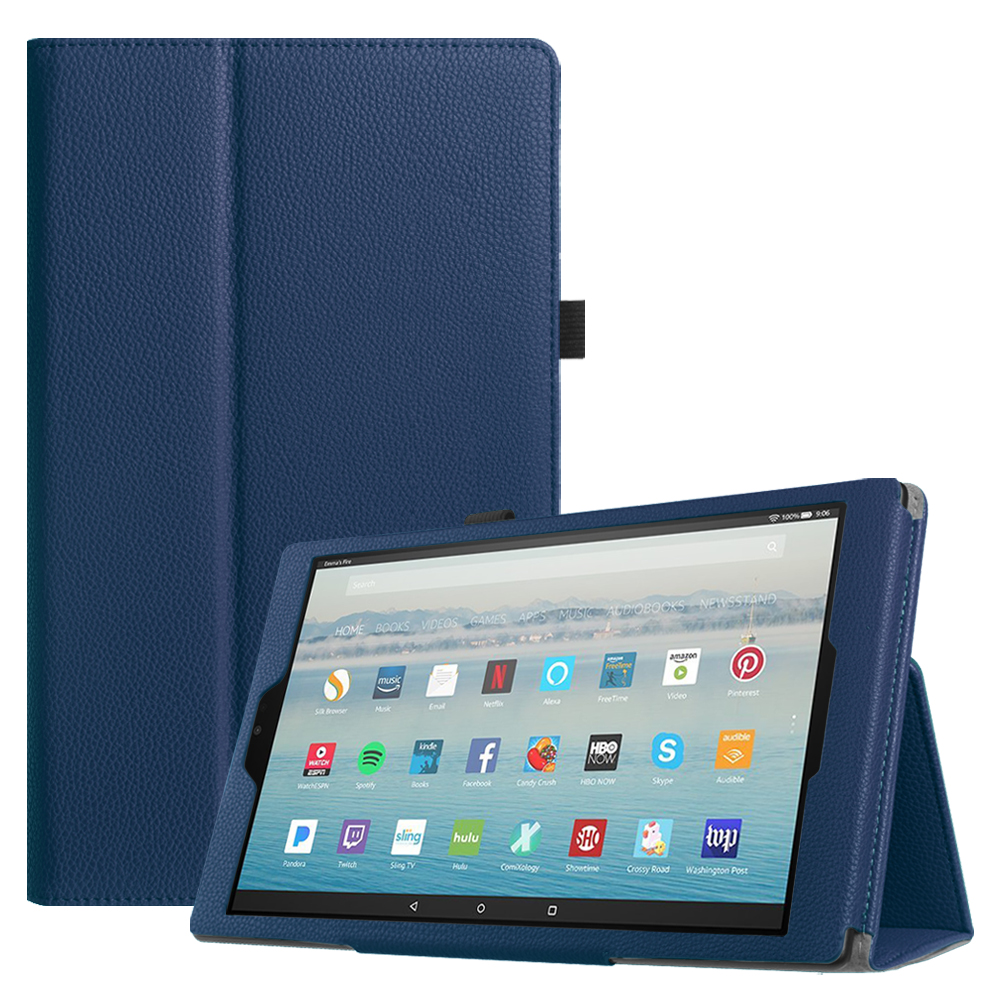 Fintie Folio Case for All-New Amazon Fire HD 10 Tablet (7th Gen, 2017 Release) - Slim Fit PU Leather Stand Cover, Navy