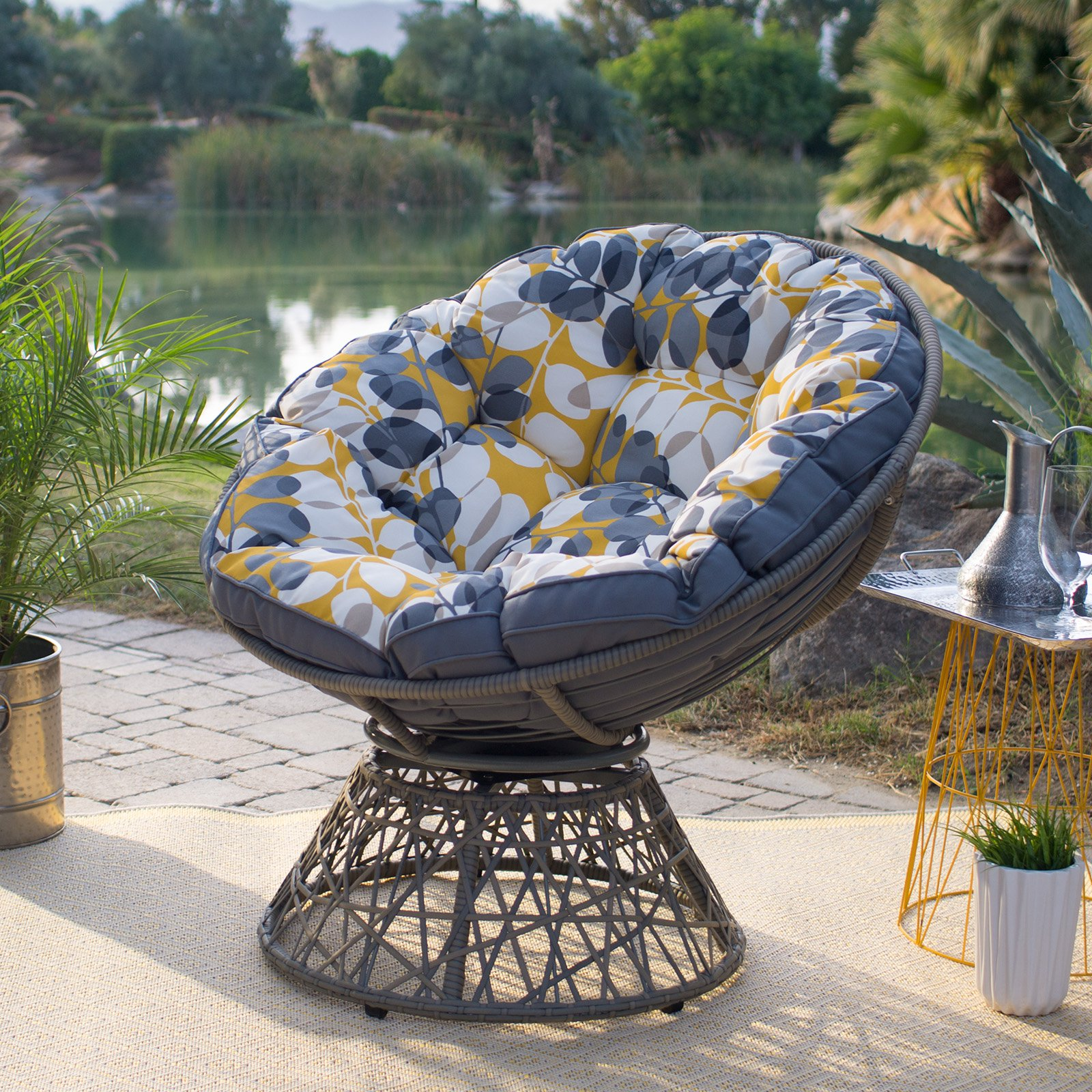 Belham Living Kambree All Weather Wicker Outdoor Papasan Chair With Cushion