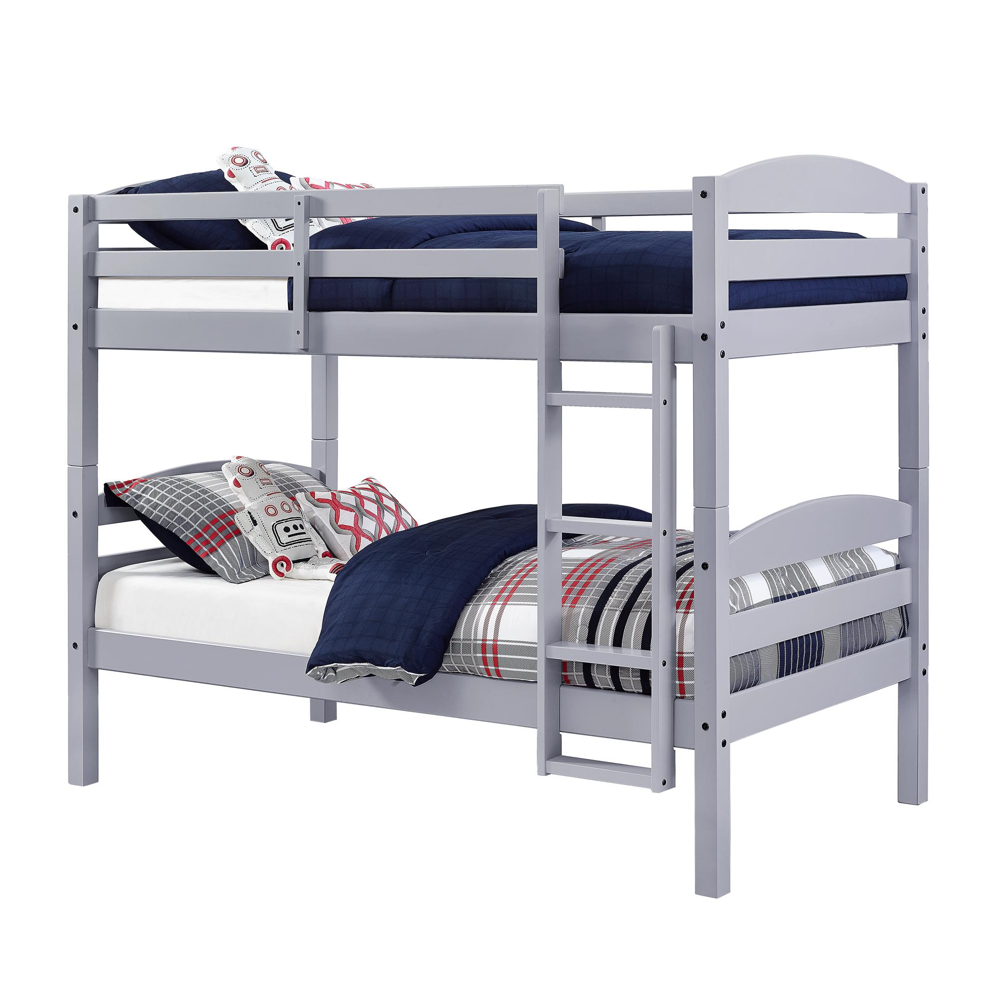 modern contemporary twin size spacesaver wood bunk bed home dorm double bed gray ebay. Black Bedroom Furniture Sets. Home Design Ideas