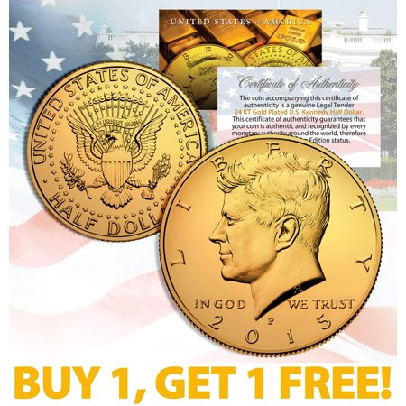 24K GOLD PLATED 2015 JFK Kennedy Half Dollar Coin w/Capsule * BUY 1 GET 1 * BOGO