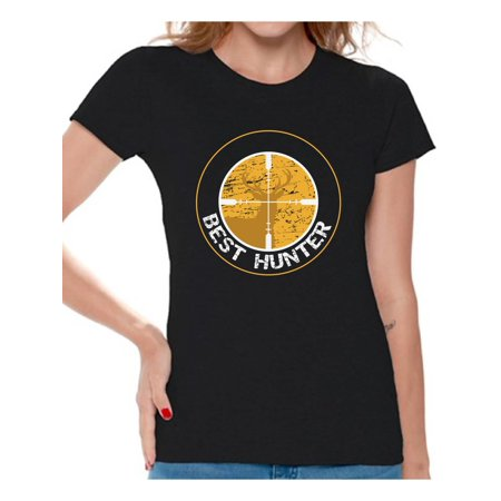 Awkward Styles Best Deer Hunter Shirt for Women Best Hunter Ladies Shirt Hunting Lovers T-Shirt for Her Hunting T Shirt for Wife Hunting Birthday Gifts for Mom Deer Hunting Fans Best Hunter