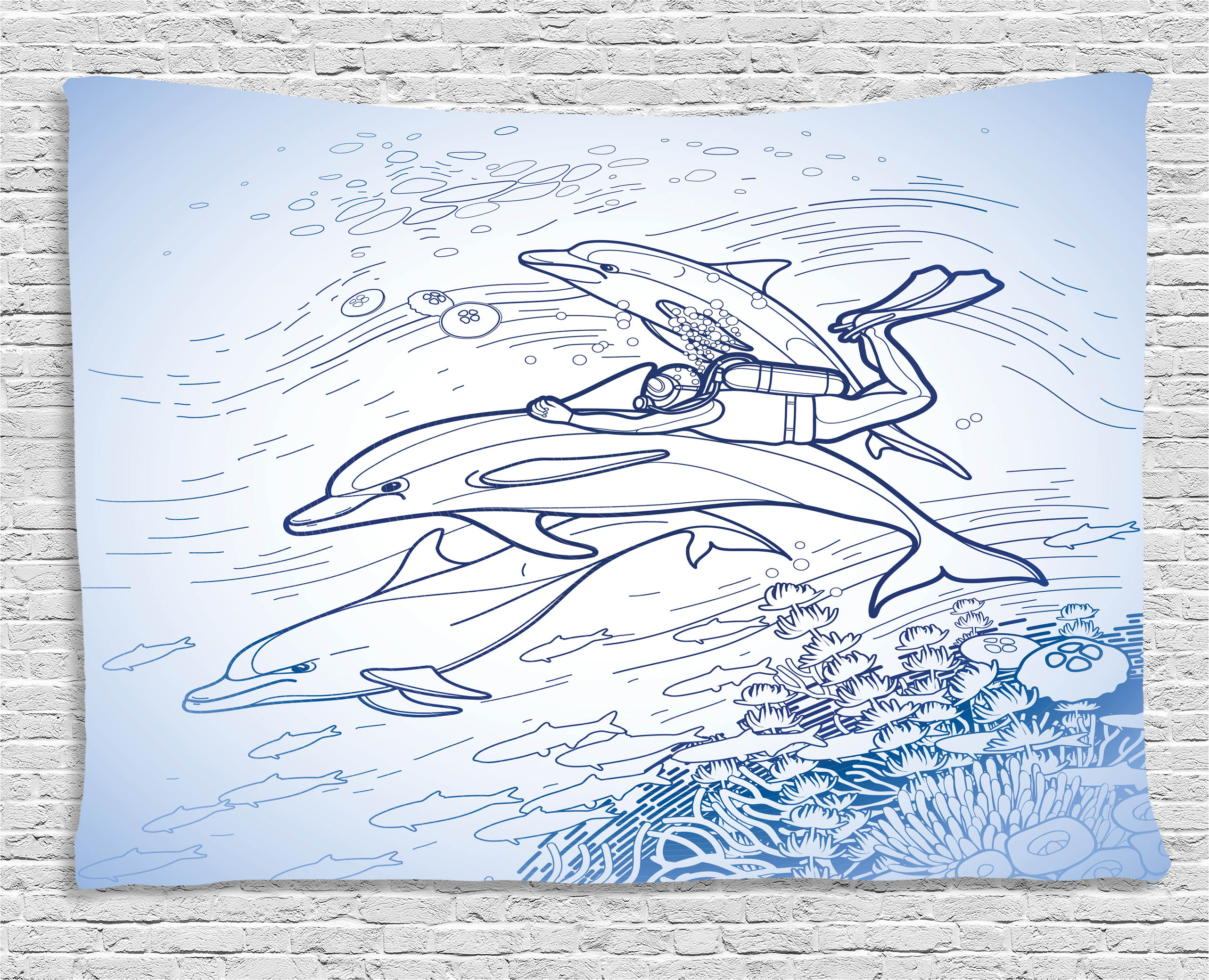 Sea Animals Decor Tapestry, Sketch Of Scuba Diver Holding Fin Of Dolphin  Over Coral Reefs Fish ...