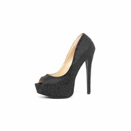 Peep Toe Satin Pumps (Leg Black Glamour 5 1/2 Satin Rhinestone Peep Toe Pump 5035LEG_B Black)