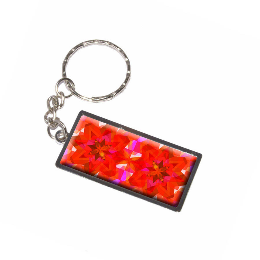 Kaleidoscope Orange Red Pretty Pattern Keychain Key Chain Ring