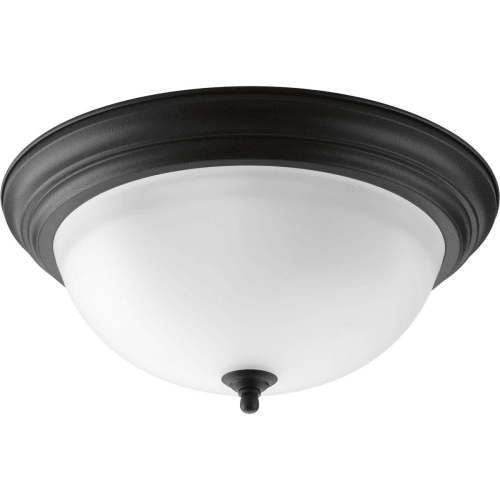 "Progress Lighting P3926 Melon 3 Light Flush Mount Ceiling Fixture with Alabaster Glass Shade - 15"" Wide"