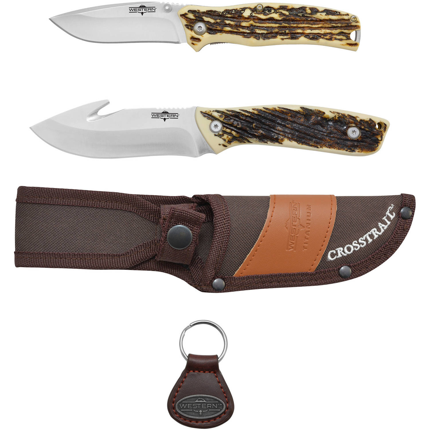 Camillus Western Crosstrail 8.25-inch Fixed Blade Knife, Pronto 7-inch Folding Knife and Keychain by Acme United