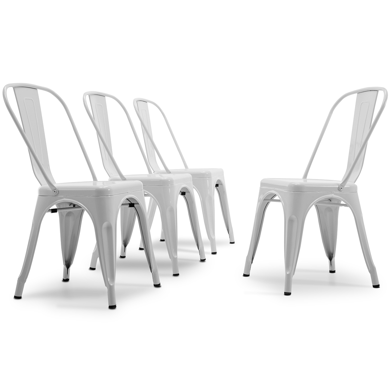 BELLEZE Set of (4pc) Dining Chair Stackable Chic Side Chairs Vintage Bistro Cafe Backrest, White