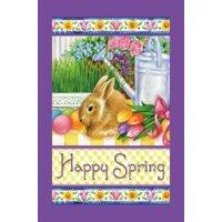 "Happy Spring Easter House Flag Bunny Seasonal Large Yard Banner 28"" x 40"""