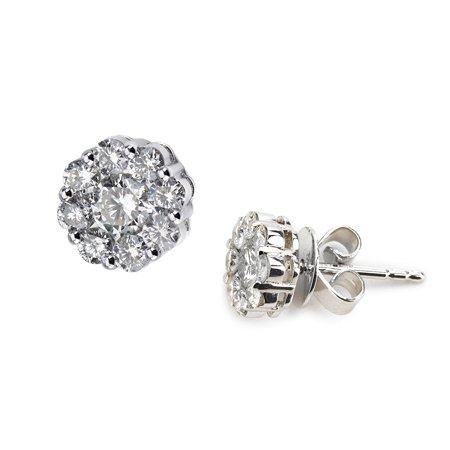 14k White Gold Flower Cer Diamond Earring 75 Carats Of Diamonds H I Color Si2