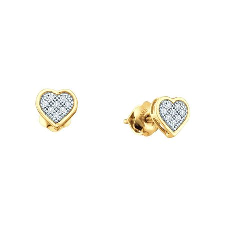 10kt Yellow Gold Womens Round Diamond Heart Love Cluster Earrings 1/6 Cttw - image 1 de 1