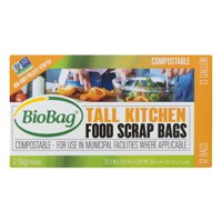 BioBag Compostable Food Scrap Bags, 13 Gallon, 12 Count