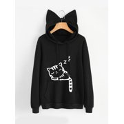 Clothes for Women on Clearance! Women's Pullover Hoodie for Women, Long Sleeve Cat Printed Hooded Sweatshirts for Juniors, Black Gift Hoodies Blouse Tops for Ladies, S-XL