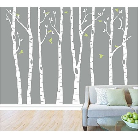 Tayyakoushi White Birch Tree Wall Decal Nursery Clical Stickers Decals For Kids Room Living Decor Set Of 8 Mural