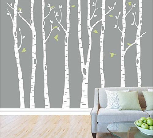 Tayyakoushi White Birch Tree Wall Decal Nursery Classical Tree Wall  Stickers Tree Wall Decals For Kids Room Living Room Wall Decor Set Of 8  Wall Mural