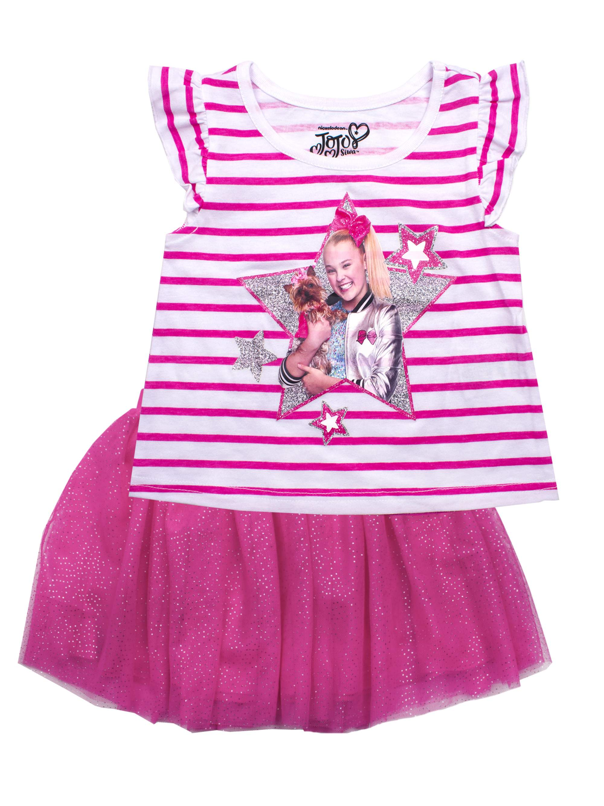 JoJo & Bow Bow Tee and Glitter Tutu Skirt, 2-Piece Outfit Set (Little Girls)