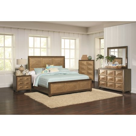 Wheatland Eastern King Size Bed Classic Bedroom Gold Finish 4pc Set Unique  Dresser Mirror Nightstand Furniture
