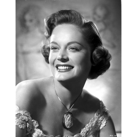 - Alexis Smith smiling and wearing a Necklace with Big Pendant Photo Print