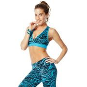 Zumba Dance Fitness Geo Mid-Level V Bra - Blue-S