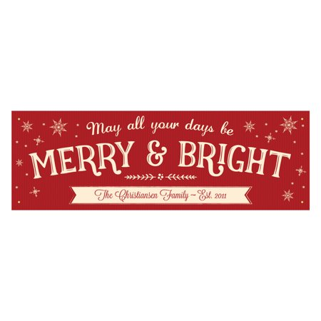 Personalized Merry & Bright Christmas Banner