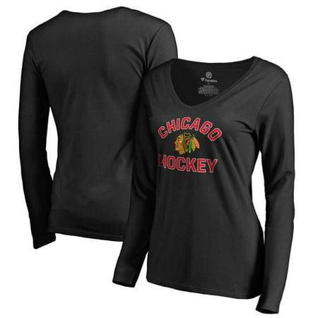 Chicago Blackhawks Fanatics Branded Women's Overtime Long Sleeve V-Neck T-Shirt - Black (Chicago Blackhawks Party Supplies)