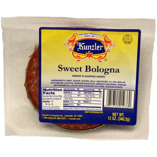 Kunzler Sliced Sweet Bologna, 12 oz