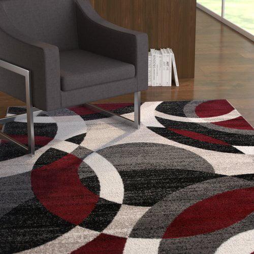 Ebern Designs Bridlington Circles Abstract Red Gray Area Rug