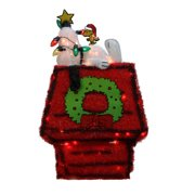 Northlight Seasonal Peanut Pre-Lit Peanuts 3D Snoopy on Dog House with Star Christmas Yard Art Decoration