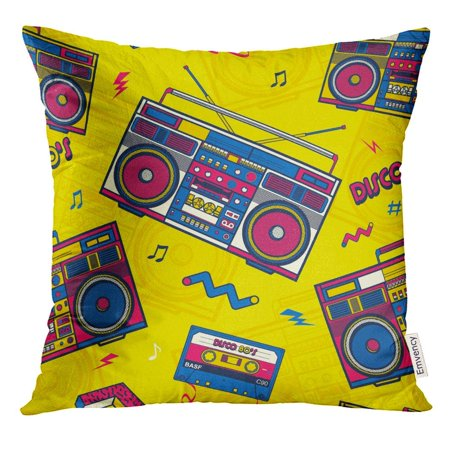 ARHOME Colorful Music Retro Pop Eighties Boombox Radio 80'S Memphis Pillow Case 16x16 Inches Pillowcase
