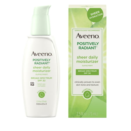 Aveeno Positively Radiant Sheer Daily Moisturizer SPF 30, 2.5 fl. oz (Tinted Moisturizer Sheer Spf 30 Oil Free)