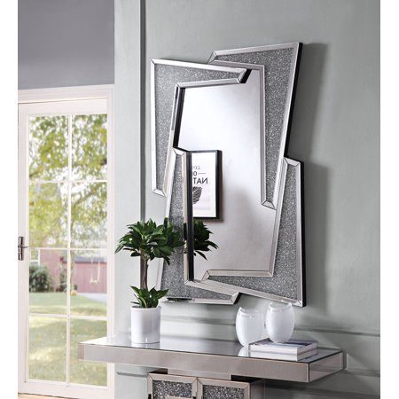 Acme Noralie Wall Décor in Mirrored and Faux Diamonds