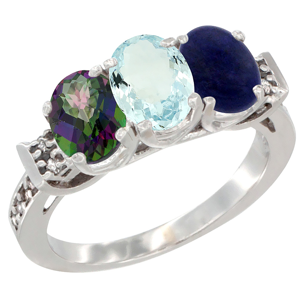 10K White Gold Natural Mystic Topaz, Aquamarine & Lapis Ring 3-Stone Oval 7x5 mm Diamond Accent, sizes 5 10 by WorldJewels