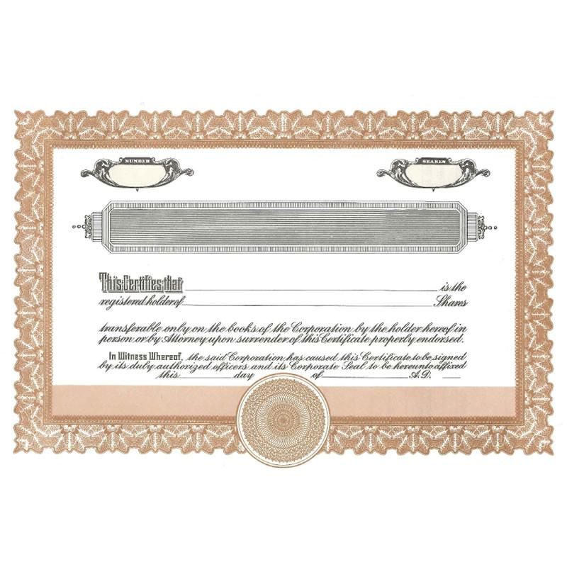 Short Form Brown Stock Certificate - Pack of 25