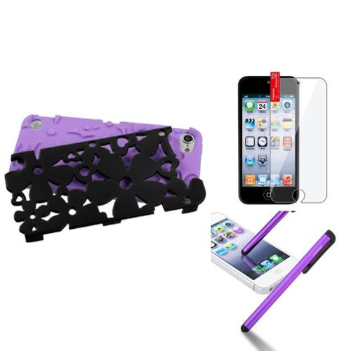 Insten Purple Flower Dual Layer Hard Soft Silicone Case+Film+Pen For iPod Touch 5 5th 6 6th Gen
