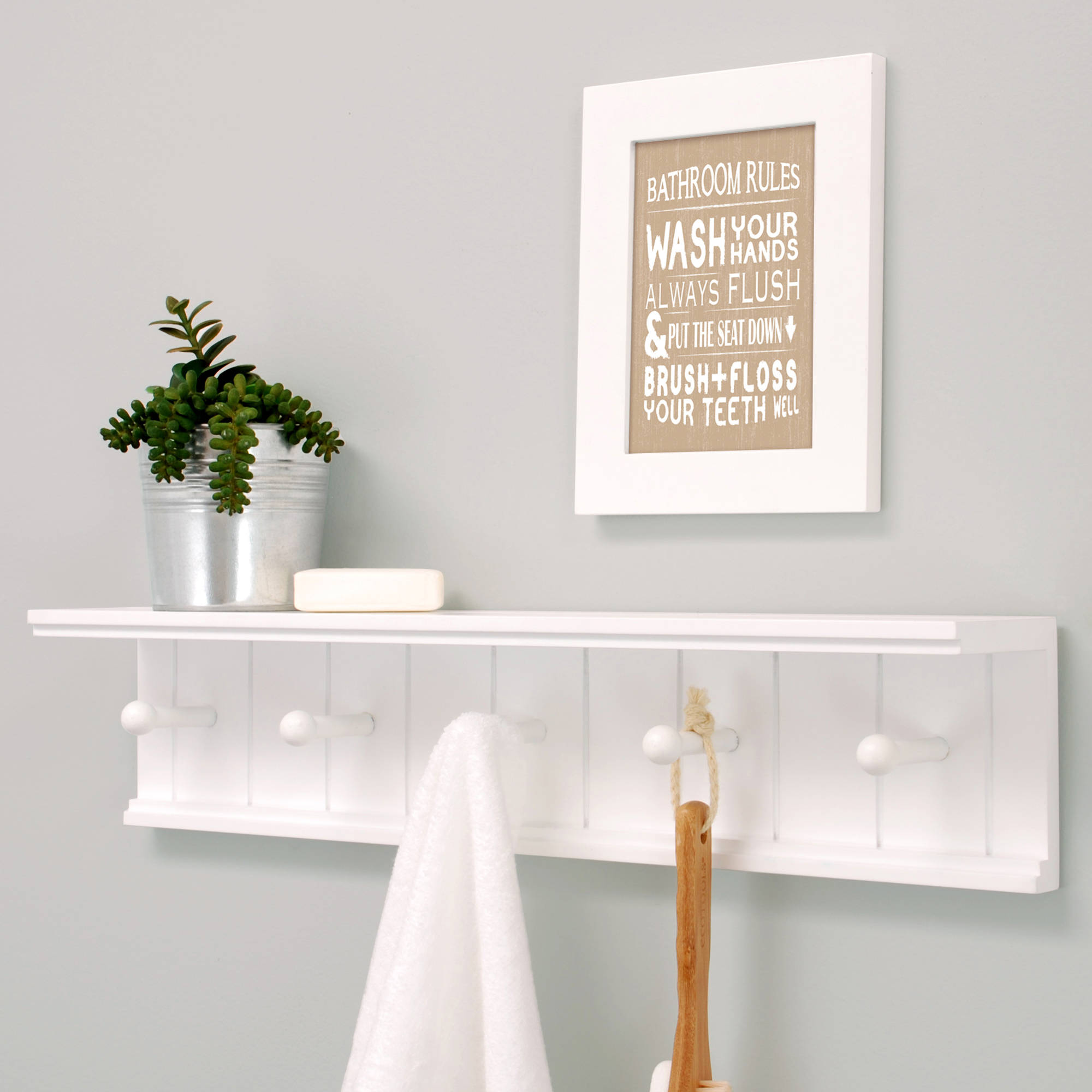 Wall shelves kiera grace kian 24 wall shelf with 5 pegs white amipublicfo Gallery