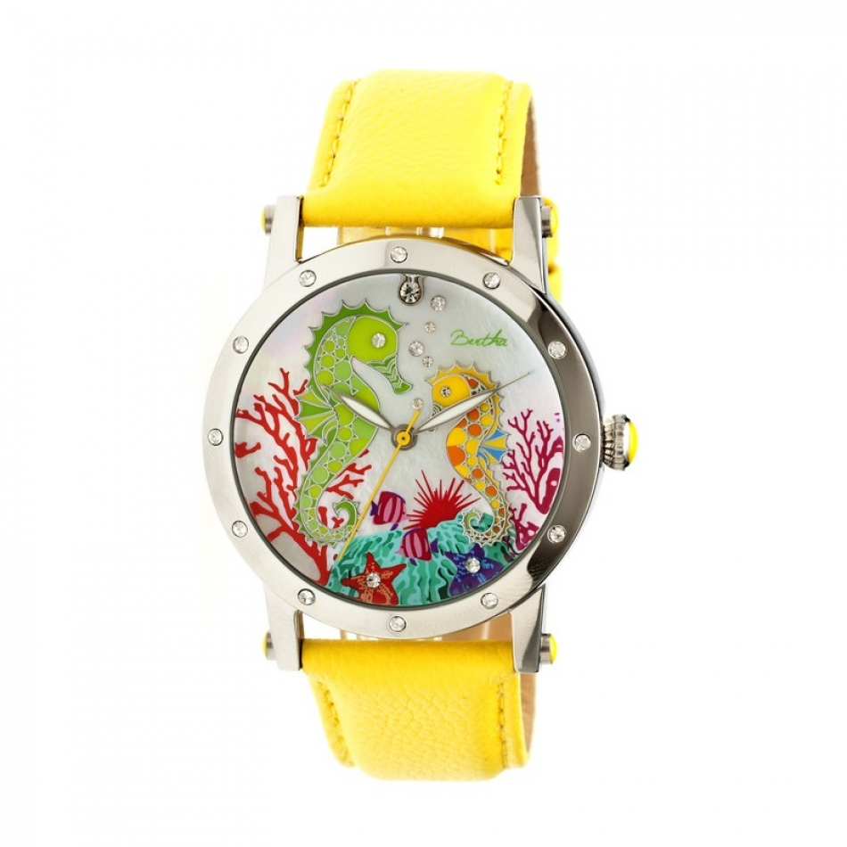 Bertha Morgan Mop Leather-Band Ladies Watch - Silver/Yellow