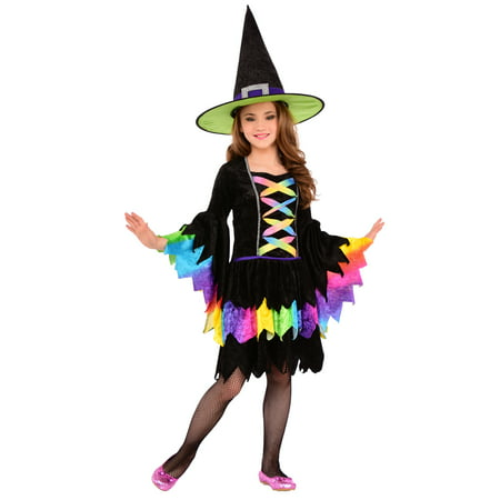 Rainbow Witch Girls Colorful Good Witch Child Halloween Costume - Rainbow Girl Halloween Costume