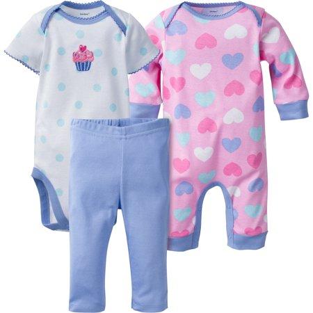 Newborn Baby Girls Footed Coverall (Newborn Baby Girl Coverall, Onesies Bodysuit & Slim Pant, 3pc Set)