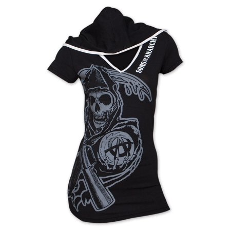 sons of anarchy hooded juniors t-shirt - black