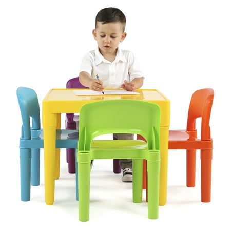 Humble Crew Kids Lightweight Plastic Table and 4 Chairs Set, Square, Yellow Table & Red/Green/Blue/Purple Chairs