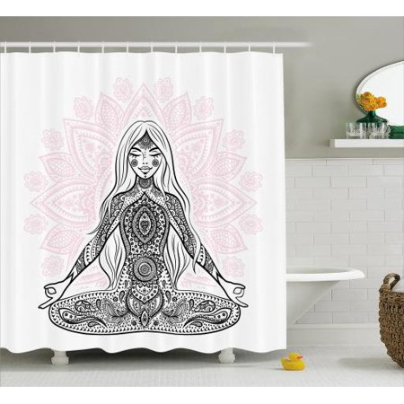Chakra Shower Curtain, Ornate Girl Figure on Lotus Flower with Eastern Symbols on Body Mind Calming Concept, Fabric Bathroom Set with Hooks, Black Pink, by Ambesonne
