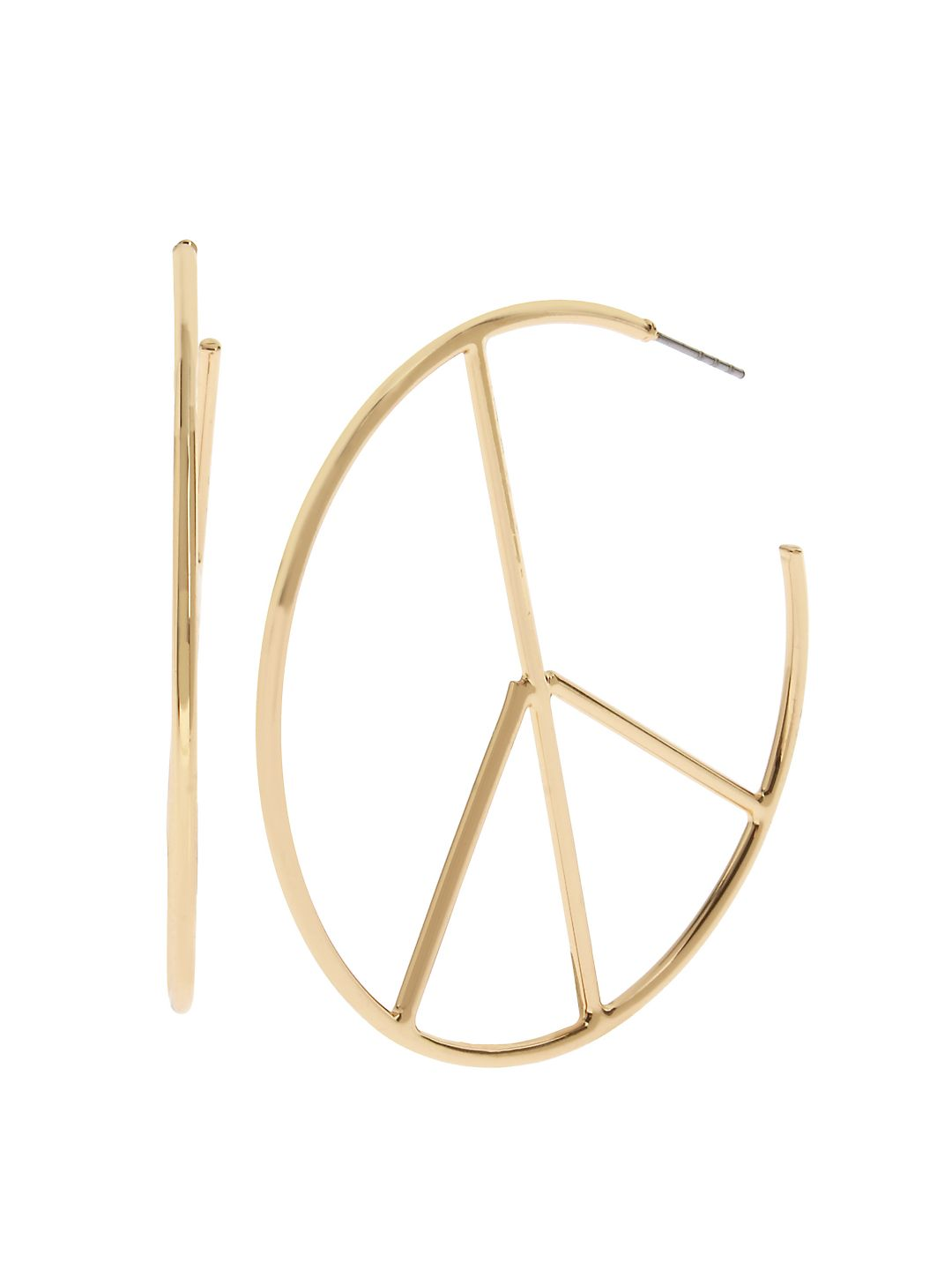 Flower Child Goldtone Peace Sign Hoop Earrings