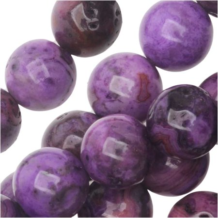 Dakota Stones Gemstone Beads, Purple Crazy Lace Agate, Round 8mm, 8 Inch -