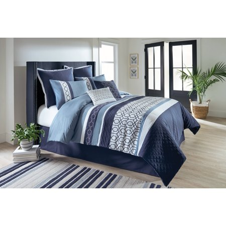 Better Homes & Gardens Full or Queen Geometric Navy Comforter Set, 8 Piece
