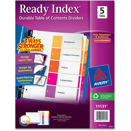 Avery Ready Index Customizable Table of Contents Classic Multicolor Dividers - 5 x Divider(s) - Printed Tab(s) - Digit - 1-5 - 5 Tab(s)/Set - 8.5
