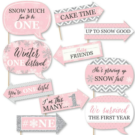 Funny Pink ONEderland - Holiday Snowflake Winter Wonderland Birthday Party Photo Booth Props Kit - 10 Piece ()